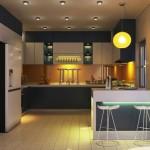 Màu tối chủ đạo được cân đối bởi màu trắng của hệ thống tủ bếp